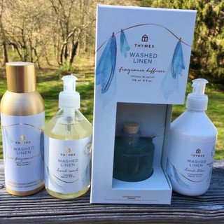 From left to right: home fragrance mist, hand soap, fragrance diffuser with reeds included, hand lotion. Items sold separately.