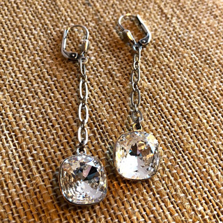 Sterling Silver over copper chain with Swarovksi crystal drop earrings