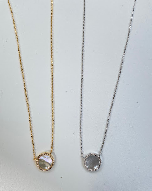 Gold vermeil & sterling silver CZ mother of Pearl necklaces