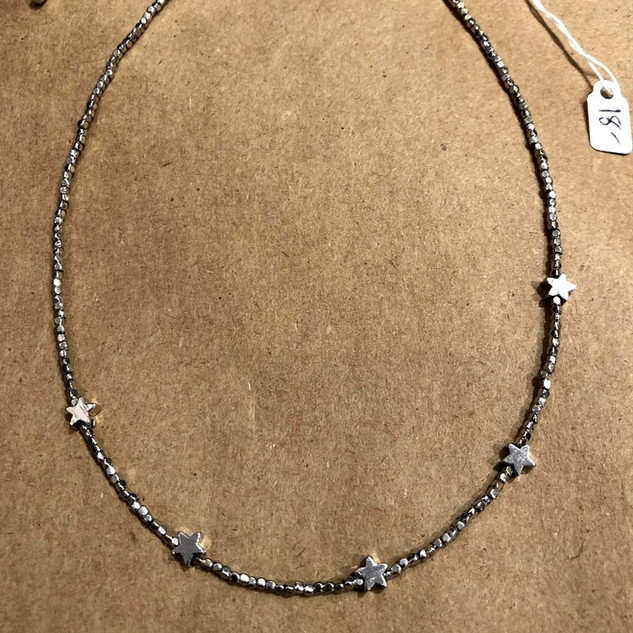 Silver five star adjustable choker
