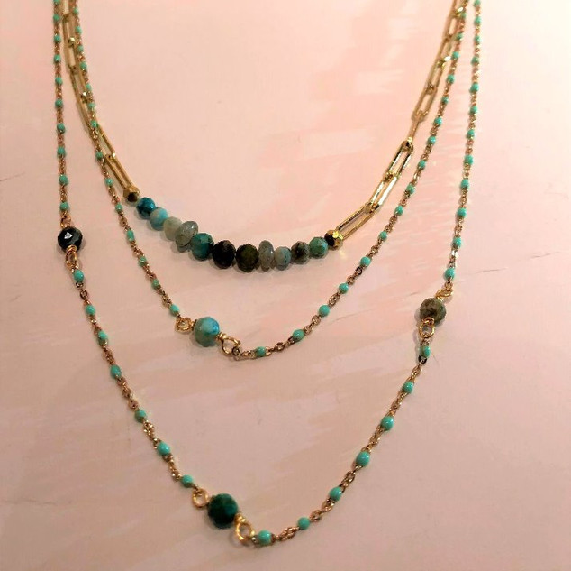 Turquiose & gold tone plated three layer necklace