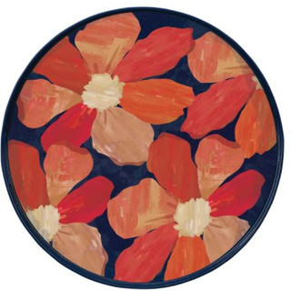 Spiced Petals 15 inch Round Lacquer Serving Tray
