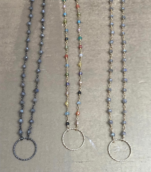 Open circle necklaces with grey agate or tourmaline gemstones