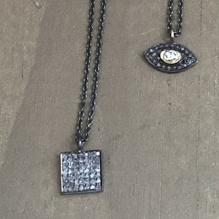 Pave diamond necklaces on oxidized silver chains