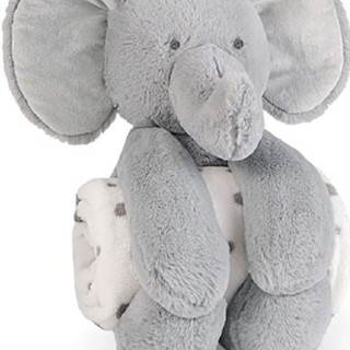 Plush elephant with rolled detachable fleece blanket for baby