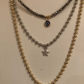 Evil eye choker with crystal beads, Silver ball choker with star (also available in gold), gold ball choker with butterfly