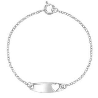 "Sterling Silver 5"" ID tag heart bracelet"