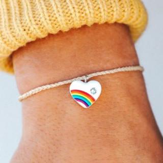 Pura Vida vintage rainbow heart bracelet