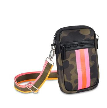 OUT OF STOCK. Neoprene crossbody cellphone case with adjustable strap.