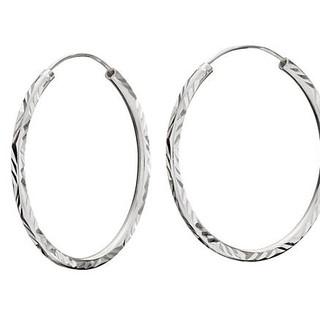 Sterling silver diamond cut medium sized hoop earrings