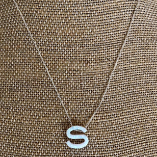Opal letter necklaces with 16 – 18 inch adjustable sterling silver chain