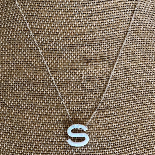 Opal letter necklaces with 16 – 18 inch adjustable sterling silver chain.