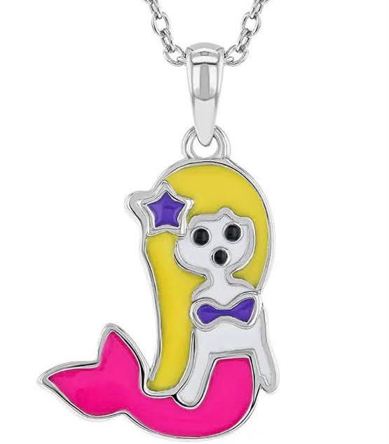 Enamel mermaid necklace