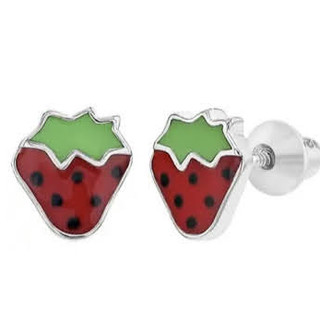 Enamel strawberry earrings with screw back