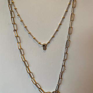 Sterling silver CZ hamsah with gold & silver ball chain - $28