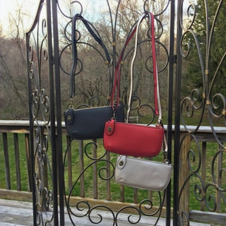 Faux leather crossbody/ wristlet clutch