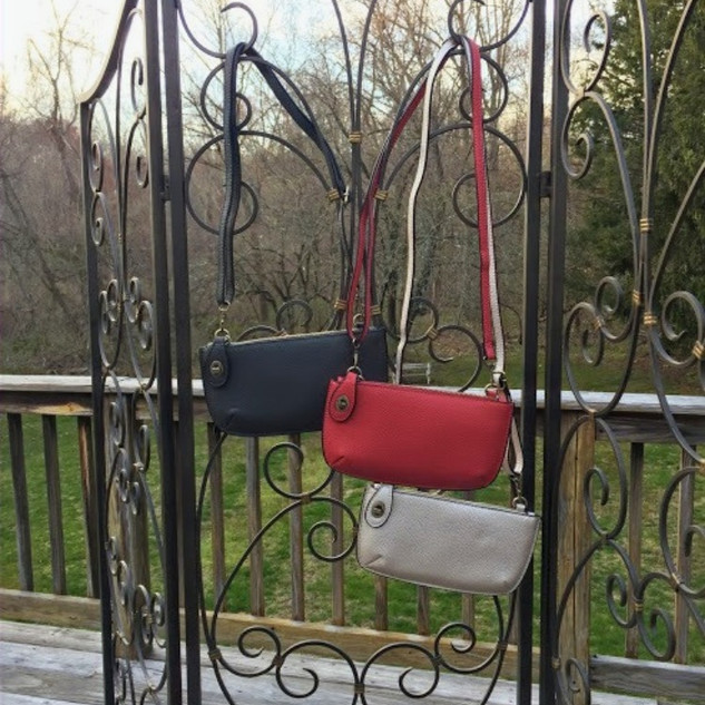 Faux leather crossbody/ wristlet clutch