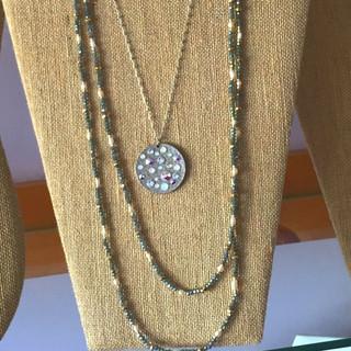 Anne Koplik Swarovski crystal disk necklace, pearl and crystal layering necklace.