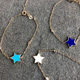 Gold Vermeil with star enamel adjustable bracelets