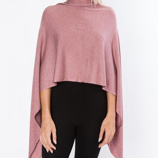 Multi-positionable '8 ways to wear' poncho wrap. Dusty Pink color coming soon.