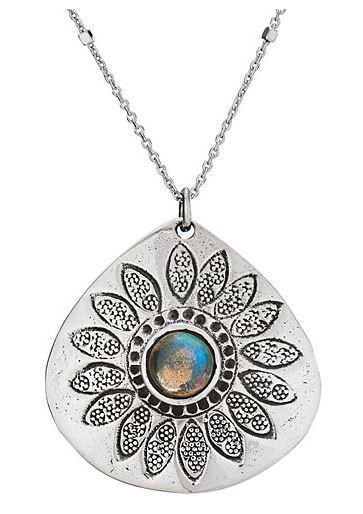 Labradorite stamped sunflower necklace