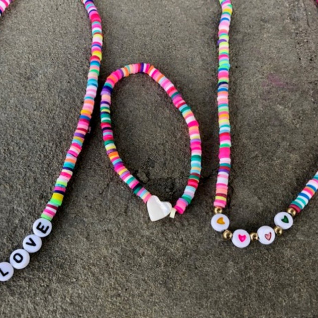 Rainbow necklaces with clasp enclosure, Stretchy rainbow heart bracelet