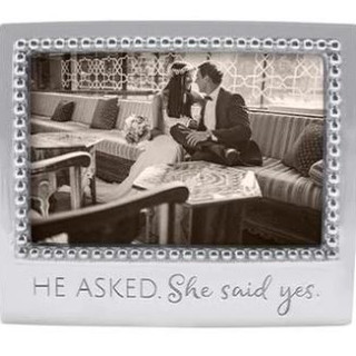 """""""He asked, she said yes"""" beaded aluminum frame"""