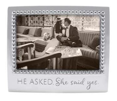 """He asked, she said yes"" beaded aluminum frame"