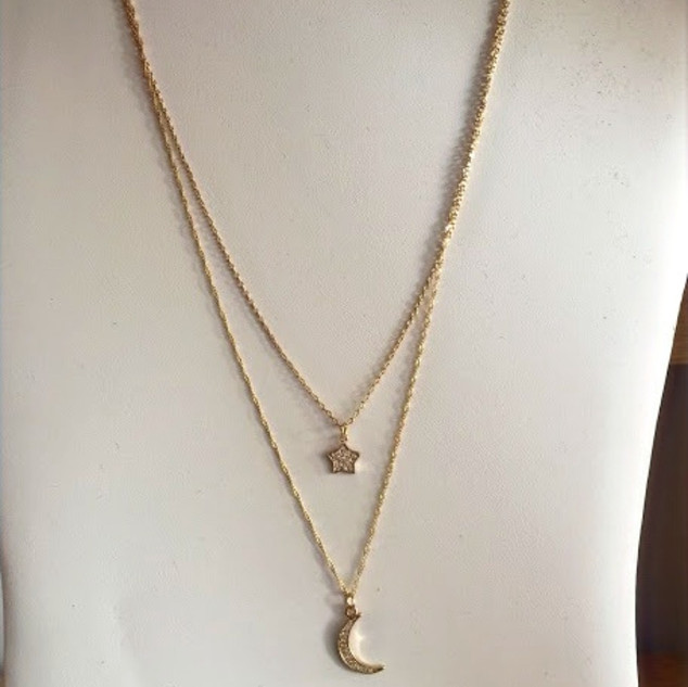 Double layer moon and star necklace in gold