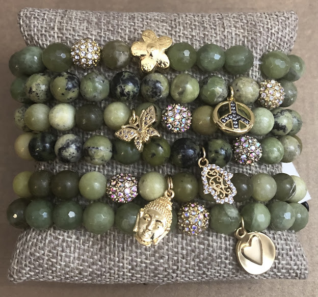 Green garnet beaded bracelets with gold charms