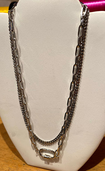 Rhodium plated carabiner double chain necklace with extender