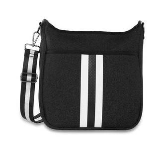Neoprene body with top zip, hidden front pocket zipper and inside zip pocket.