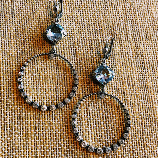 Sterling Silver over copper circle earrings with Swarovksi crystals