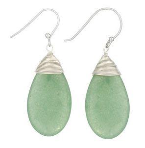 Sterling silver aventurine teardrop earrings