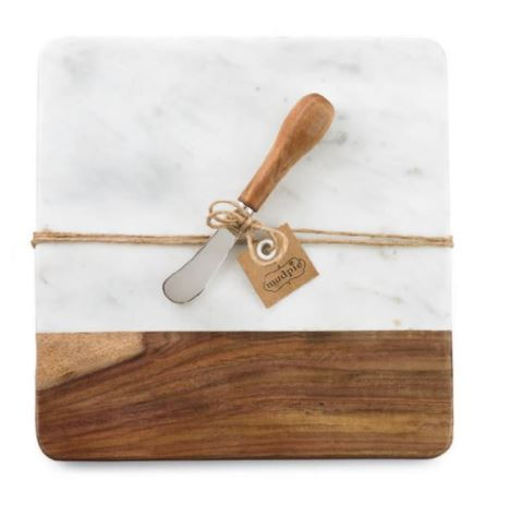Marble + wood board set, spreader included