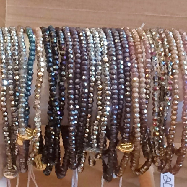 Crystal stretch wrap bracelets.