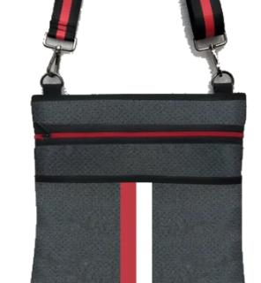 Neoprene crossbody. Includes two adjustable straps.