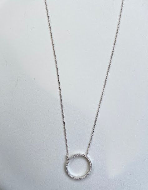 CZ circle necklace in gold vermeil