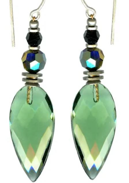 Tourmaline German glass earrings with Austrian crystal. Sterling silver ear wires.
