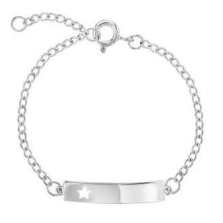Sterling silver tag ID star adjustable bracelet