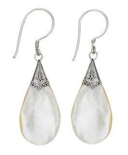 Sterling silver MOP teardrop earrings