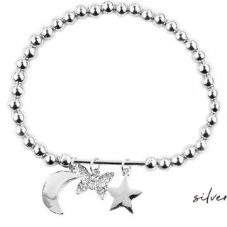 Stretchy silver ball bracelet with three charms