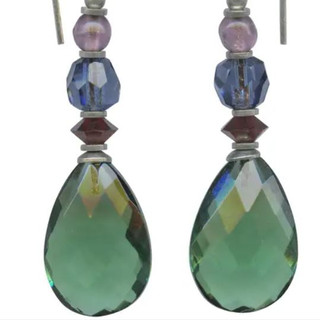 Tourmaline green glass drops with garnet, indigo and light amethyst Austrian crystal and Czech glass accents. Sterling silver ear wires.