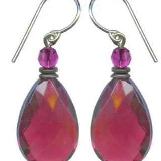 Faceted German deep rose pink glass drops, with fuchsia Austrian crystal glass accents. Sterling silver ear wires. Matching necklace also available.