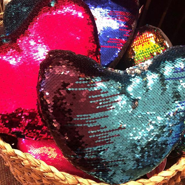 Sequin changing heart pillow