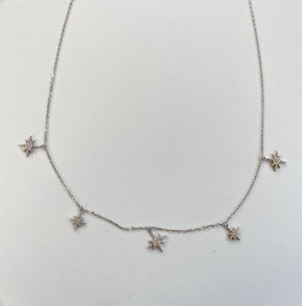 Sterling silver multi-dangle starburst necklace