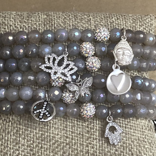 Grey agate beaded bracelets with silver charms