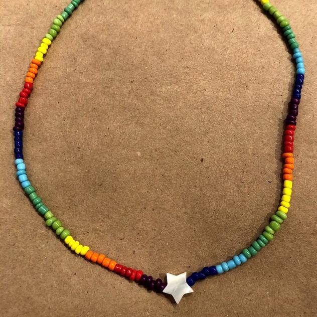 Rainbow star adjustable choker