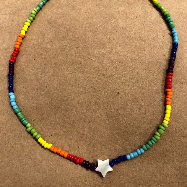 Rainbow star adjustable choker