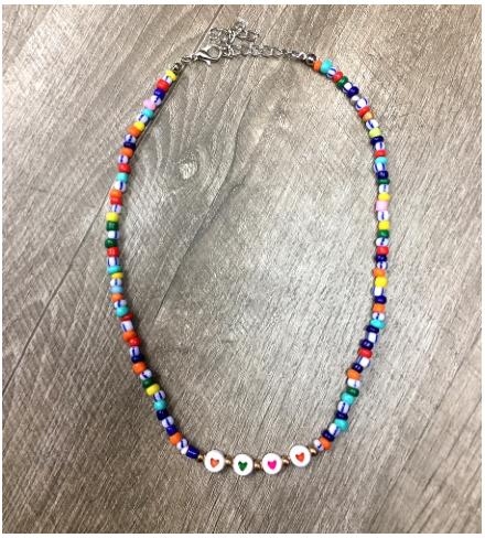 Multi beads heart choker